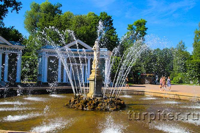 Ева девушка среди фонтана