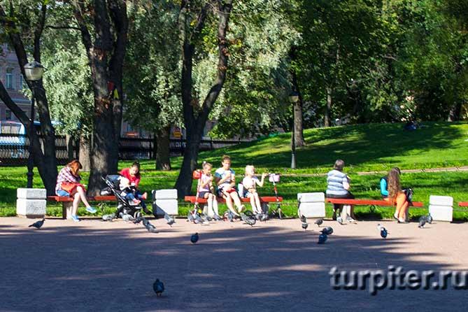 много детей в парке