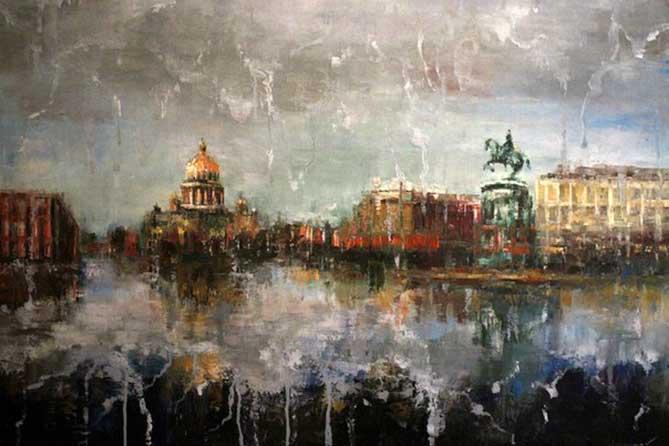 картина собор и памятник дождь