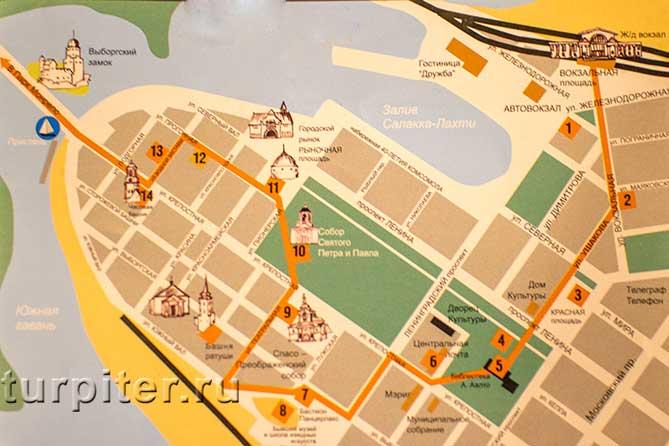 карта схема Выборга