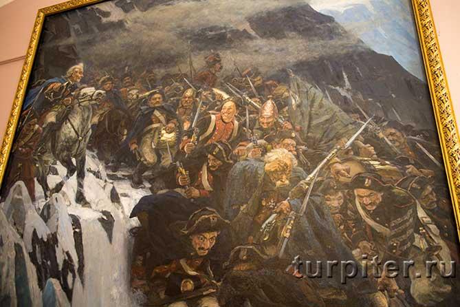солдаты и Суворов в горах