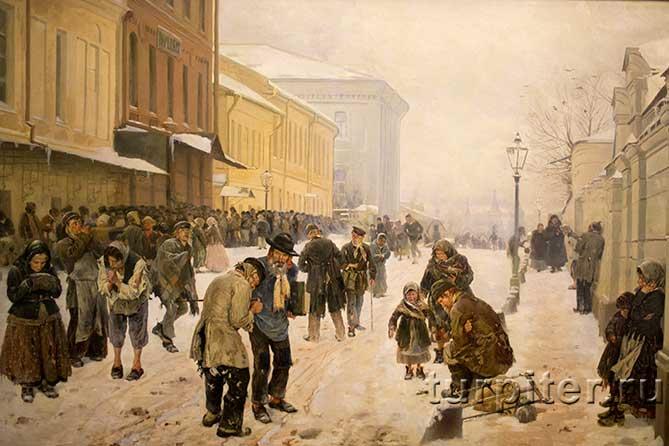 люди мерзнут около ночлежки в Санкт-Петербурге