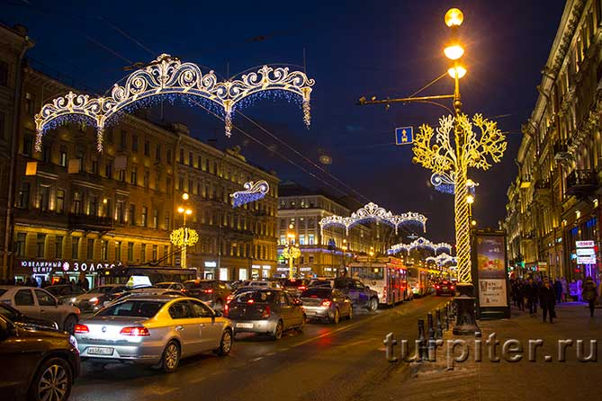украшенный Невский проспект Новый Год