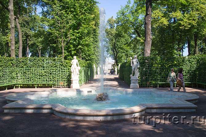 прохладный фонтан в парке