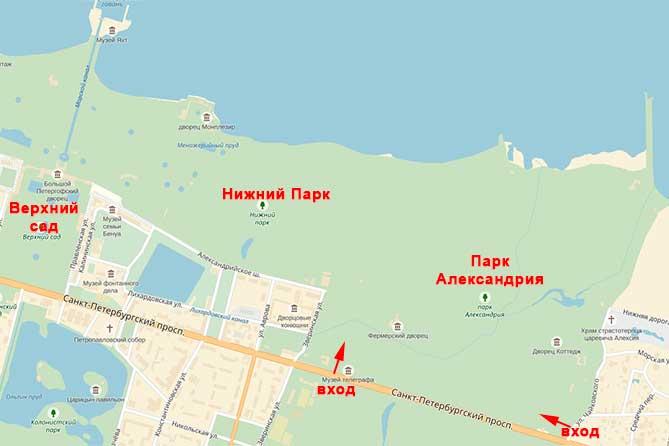 Карта Александрия Петергоф