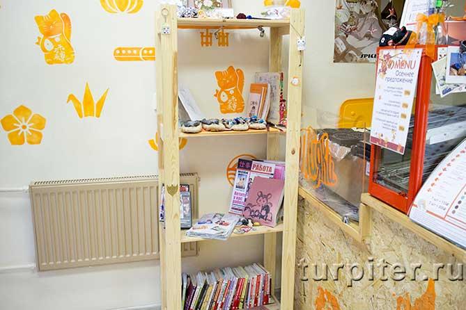 небольшой шкаф с японскими книгами