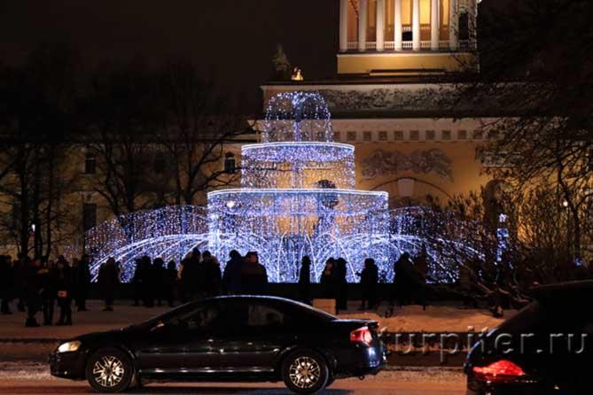 световой фонтан около адмиралетйства