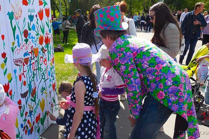 дети на фестивале тюльпанов